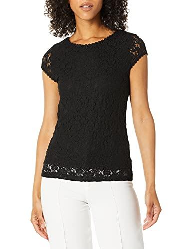 KARL LAGERFELD Damen Short Sleeve Lace Knit Hemd, schwarz, Mittel