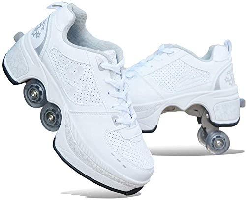 FLY FLU 2-in-1-Mehrzweckschuhe,Doppelte Fahrbare Rollen-Schuhe - Für Jungen-Mädchen-Kinderrochen-Schuhe Mit Vier Rädern, Rollschuhe Schuhe Mädchen Jungen Radschuhe Kinder Rad Turnschuhe,A-38