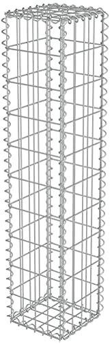 Defacto Gabionen-Steinsäule Eckig Dekorative Gabionensäule für den Außenbereich, 25x25x120cm