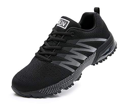 Azooken Herren Damen Sportschuhe Laufschuhe Turnschuhe Sneakers Leichte Fitness Mesh Air Sneaker Straßenlaufschuhe Outdoor(8995 Black42)
