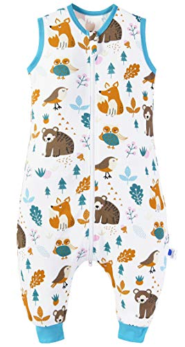 Chilsuessy Baby Schlafsack Sommer mit Füßen 0.5 Tog 100% Baumwolle Kinder Sommerschlafsack für Jungen und Mädchen, Waldtiere, 70cm/Baby Höhe 80-90cm