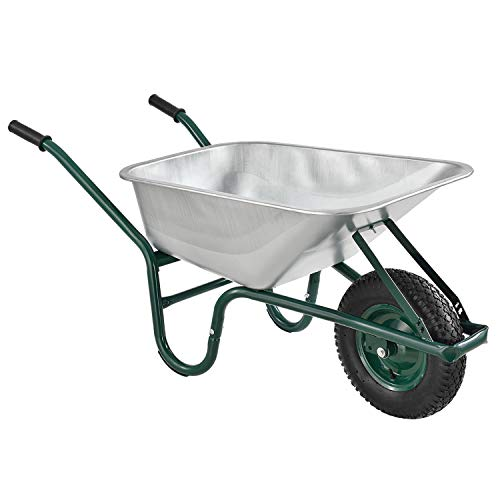 Juskys Schubkarre Garden   100 Liter Volumen   210 kg   Luftreifen mit Metall Felge   Wanne verzinkt   Garten Karre Schiebkarre Transportkarre