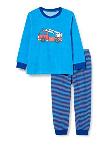 Playshoes Jungen Frottee Feuerwehr Zweiteiliger Schlafanzug, Blau (Blau 7), 110
