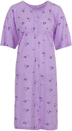 Romesa Lucky Damen Nachthemd Kurzarm Große Größen 3XL-6XL, Größe:3XL, Farbe:Flieder