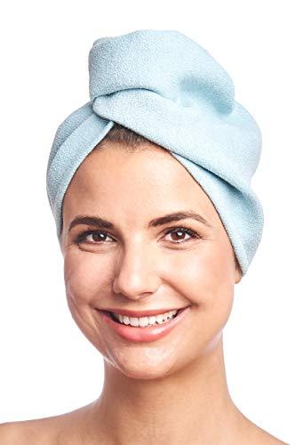 DYNESSE Premium Turban Handtuch mit Knopf. Mikrofaser Haarturban. Kopfhandtuch für Freihändiges Trocknen von Haaren. Haarhandtuch für alle Haartypen.