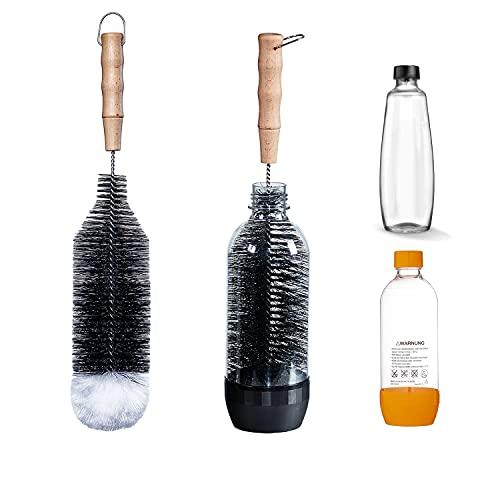 LiangMai Flaschenbürste kompatibel mit SodaStream 1L Flaschen, Crystal PET und Duo Flaschen, KST-Flasche und 1L Glasflasche, als Gläserbürste, Flaschenreiniger mit Wollkopf & Lang Griff