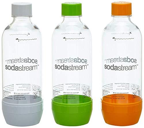 SodaStream Aktions-Set Pet-Flaschen 2+1, 3x 1L PET-Flaschen aus bruchfestem kristallklarem PET in den Farben Orange, Grün und Weiß