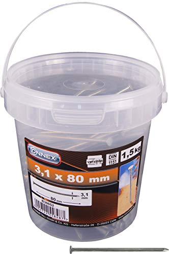 Connex Drahtstifte 3,1 x 80 mm - 1500 g - Senkkopf - Verzinkt - Aufbewahrung in praktischem Eimer - Für den universellen Einsatz / Stahlnägel / Drahtnägel / Nagel-Sortiment / Großpack / B30052