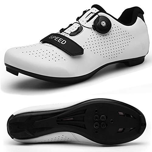 STEELEMENT.Herren Fahrradschuhe Spin Shoestring mit kompatiblen Stollen Peloton Schuh mit SPD und Delta für Männer Lock Pedal Fahrradschuhe, white-44