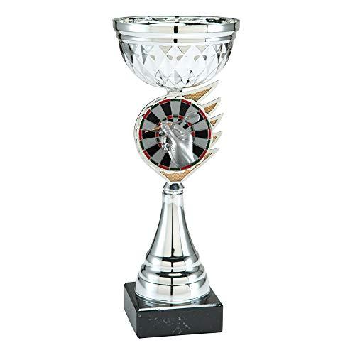 Dart Pokal mit Gravur 26 cm groß - Trophäe mit Dartpfeil als Emblem und Gravurschild in Gold