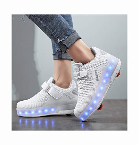 INSISTON LED Rollschuhe mit Räder, Roller Skate Schuhe Sneakers Kinder Schuhe mit Rollen, Outdoorschuhe Gymnastik Mode Turnschuhe für Kinder Mädchen Junge Erwachsene,36