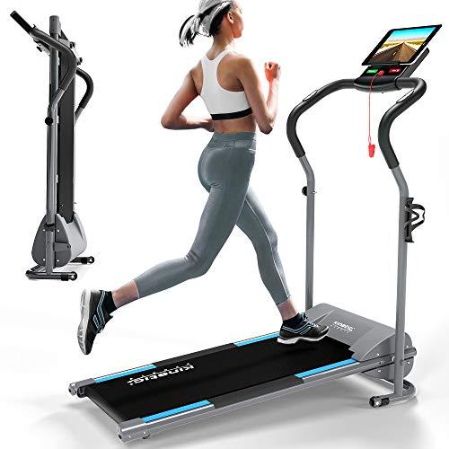 Kinetic Sports KST2500FX Laufband klappbar elektrisch flach leiser Elektromotor 500 Watt bis 120 kg, GEH- und Lauftraining, Lauffläche 36 cm breit, stufenlos einstellbar bis 10 km/h, 8 Programme