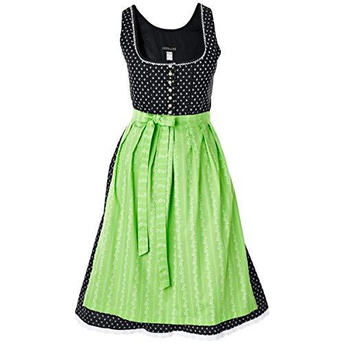 VEGA 10071930 Dirndl Emelie midi, Kleidergröße 48, 65 cm (L), schwarz/grün, 1 Stück