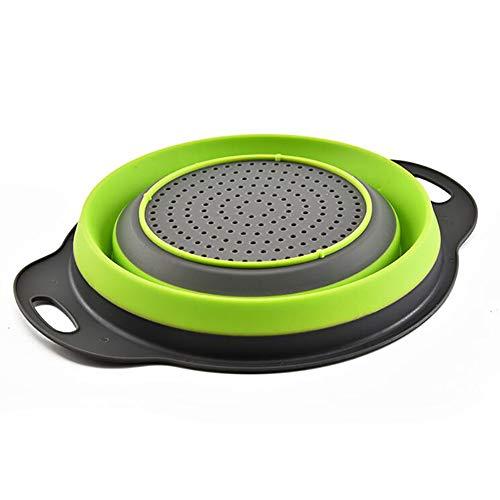 Runde Faltbare Abfluss Korb, Multi-Funktions-Waschkorb Teleskopobstkorb Obstkorb Küche Lagerung Gemüsekorb,Grün