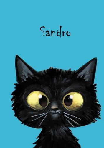 Sandro: Personalisiertes Notizbuch, DIN A5, 80 blanko Seiten mit kleiner Katze auf jeder rechten unteren Seite. Durch Vornamen auf dem Cover, eine ... Coverfinish. Über 2500 Namen bereits verf