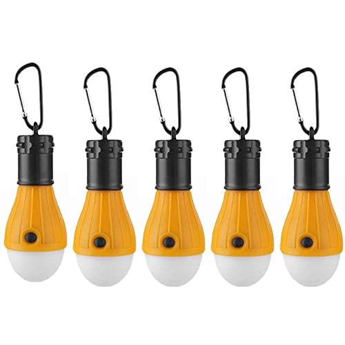 Campinglampe 5 Stück Wasserdichte Zeltlampe Tragbares LED-Licht mit Karabinerhaken für Stromausfall Camping Abenteuer Angeln (Grün)