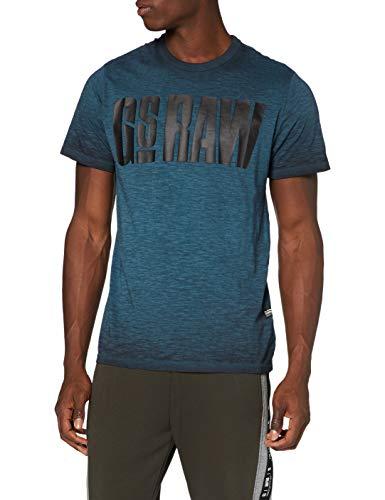 G-STAR RAW Herren T-Shirt Double Dye Logo, Cricket Blue/Dk Black Gd C372-B741, Small