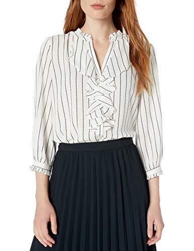 KARL LAGERFELD Paris Damen 3/4 V Neck Front Ruffle Hemd, weiß/schwarz, X-Klein