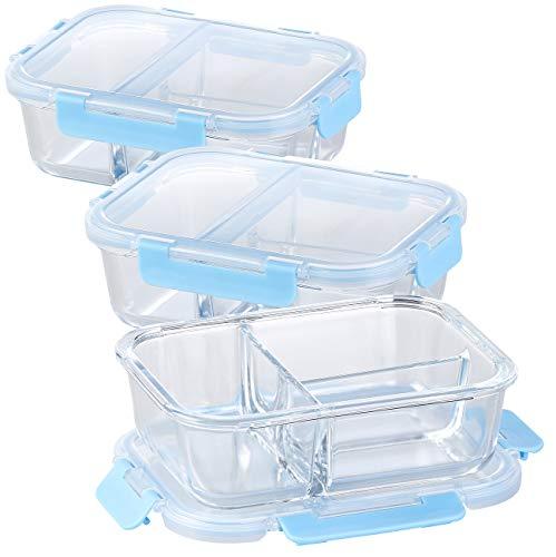Rosenstein & Söhne Glasdose: 3er-Set Glas-Frischhaltedosen mit Klick-Deckeln & 3 Kammern, 1 l (Microwellengeschirr)