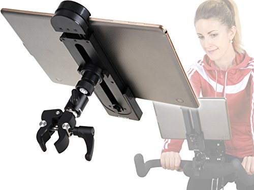 PHOTECS® Universal Tablet-Halterung Pro V1A, Klemm-Halter f. iPad Pro & andere Tablet-PC´s o. Smartphones (5 bis 14 Zoll) an Ergometer, Fitnessgerät, Spinning, Heimtrainer/Hometrainer UVM.