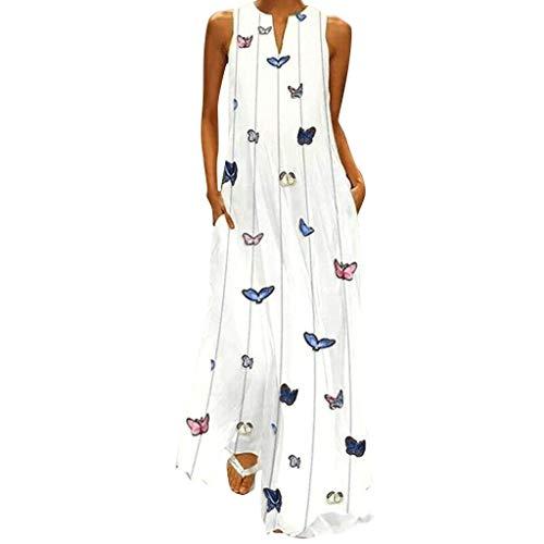 LOPILY Schmetterling Druck Kleid Lässiges Elegantes Kleid Langes Strandkleid Gestreiftes Sommerkleid Ärmellose Maxikleid V-Ausschnitt Kleid Lose Luftiges Sommerkleid (Weiß, Gr.38)