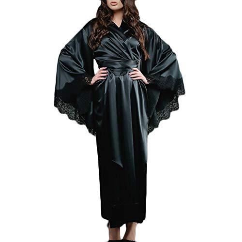 Gofodn Damen Nachthemd für Damen, Übergröße, V-Ausschnitt, lange Ärmel, Spitze, Charmanter Maxi-Pyjama Gr. Medium, Schwarz