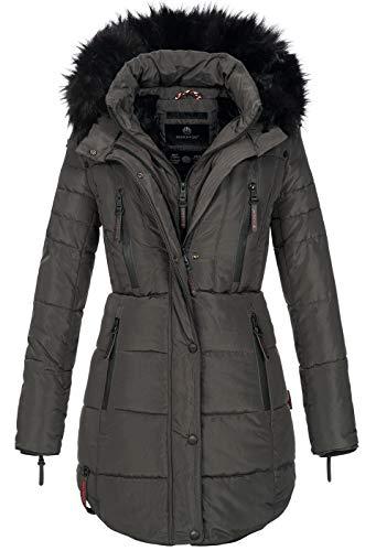 Marikoo warme Damen Winter Jacke Winterjacke Parka Stepp Mantel lang B401 [B401-Moonshine-Anthraz-Gr.XS]