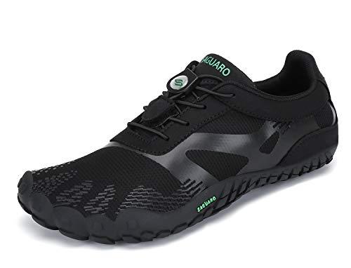 SAGUARO Barfuß Laufschuhe Herren Minimalistische Barfußschuhe Atmungsaktive Traillaufschuhe Dunkles Schwarz 40 EU