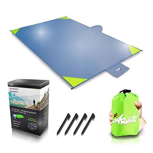 ARiety Picknickdecke wasserdicht Ultraleicht - XXL Outdoor Decke ideal als Stranddecke, Regenponcho oder Sitzunterlage für Strand, Camping, Wandern, Backpacker, Yoga, Festival