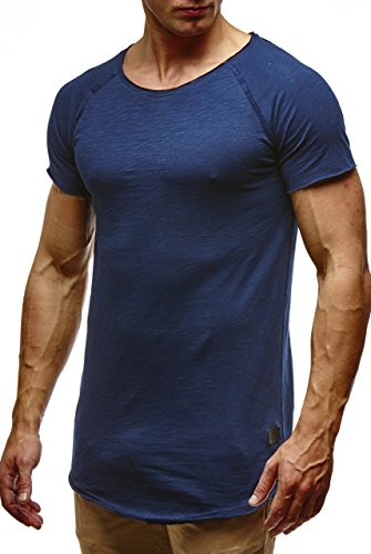 Leif Nelson Herren Sommer T-Shirt Rundhals-Ausschnitt Slim Fit Baumwolle-Anteil Moderner Männer T-Shirt Crew Neck Hoodie-Sweatshirt Kurzarm lang LN6339 Dunkelblau X-Large