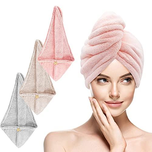 IEMY® Turban Handtuch - Haarturban 3 Stück mit Knopf, Mikrofaser Haartuchwickel Superabsorbierender Schnell, Lange Haare und Alle Haartypen, Rosa, Grau, Braun