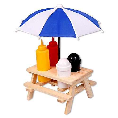 Schramm® Gewürzständer Picknicktisch mit Sonnenschirm Menage Senf Ketchup Salz Pfeffer Spender BBQ Menage Gewürzhalter Gewürzregal 6-teiliges Set