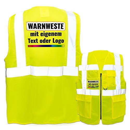 Warnweste mit Reißverschluss und Taschen * Druck auf Rücken + Front/Premium-Druck * Farbe & Größe: Gelb/Größe S * Aufdruck selbst gestalten * Bedruckt mit Design Foto Text Logo