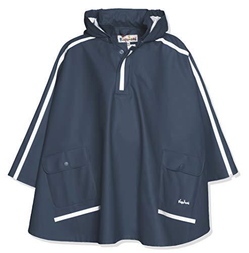 Playshoes Kinder Regencape, leichter Regenponcho, mit extra langem Rücken und abnehmbarer Kapuze, Blau, 152
