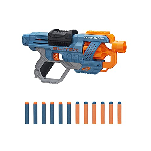Hasbro E9485EU4 Nerf Elite 2 Commander RD-6 Blaster, 12 Nerf Darts, 6-Dart Rotationstrommel, Tactical Rail Steckschienen, Befestigungspunkte