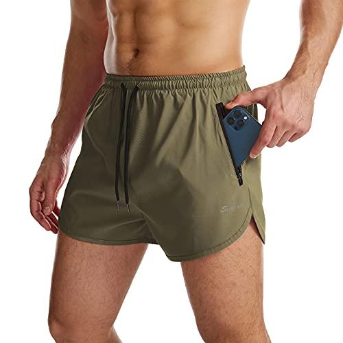 Suwangi Herren Sport Shorts Laufshorts Kurze Hose Schnell mit Innenslip Trocknend Sporthose mit Tasch Grün 2XL