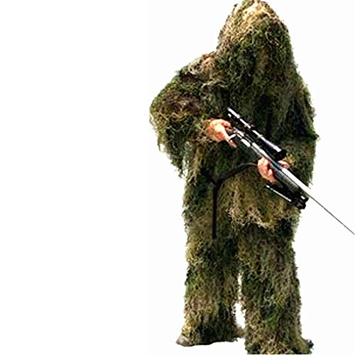 3D Universal-Tarnung Wald Kleidung Einstellbarer Größe Geely Anzug Armee Jagd Militär Tactical Sniper Set (Color : Green, Größe : 160-160cm)