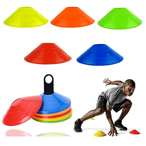 Xizhan 10/20/50 Stück Markierungshütchen Hütchen Fussball Markierungsteller für das Hütchen Training im Fussball, Hockey, Handball oder Trainingshilfe für Koordination (10 Stück)