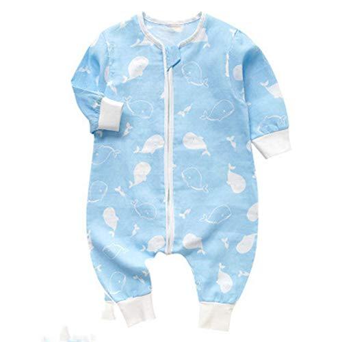 Elonglin Unisex Baby Schlafsäcke Schlafstrampler Overall Süß Komfort Strampelanzug Winter Herbst Weich Blau (2 Schichten Asie 90(für Körperhöhe 75-85cm)