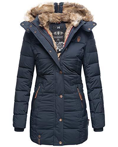 MARIKOO Damen Winter Jacke Stepp Parka Mantel Kunstfell warm gefüttert Nekoo XS-XXL (M, Navy in Lang)