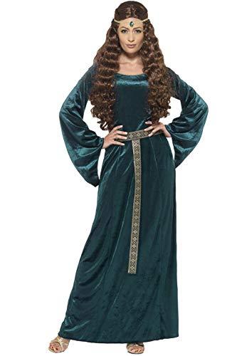 Smiffy's 45497M - Damen Mittelalterliche Magd Kostüm, Kleid und Haarband, Größe: M, grün