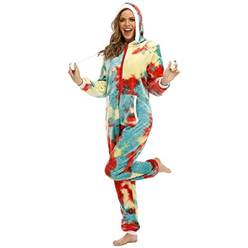 BIBOKAOKE Jumpsuit Damen Kuschelig Pyjama Onesie Jumpsuit Schlafanzug Damen Tie Dye Morgenmantel Mit Kapuze Nachtwäsch Einteiler Pyjama Overall Damen Reißverschluss Hausanzug Strampler