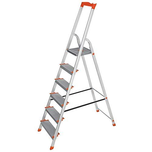 SONGMICS Leiter 6 Stufen, Aluleiter, 12 cm breite Stufen, Stehleiter, Werkzeugschale, rutschfest, bis 150 kg belastbar, TÜV Rheinland GS-Zertifikat, erfüllt EN131, grau-orange GLT006WT01