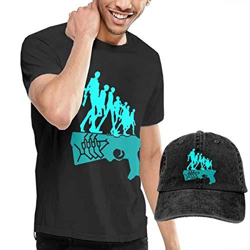 AYYUCY Herren Kurzarmshirt Dingtai Dominator Psycho Pass Men's Short Sleeve T Shirt and Adult Washed Cowboy Hat