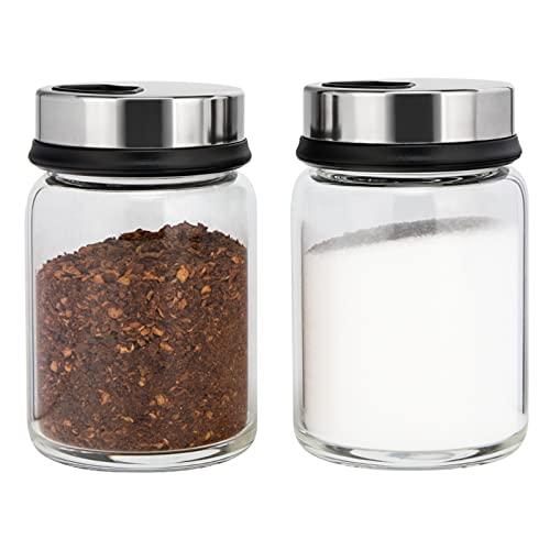 aiface 2 Stück Gewürzgläser mit Drehdeckel, Gewürzdosen aus Borosilikatglas 150 ml, Gewürzstreuer mit 4 Arten von Gewürzlöchern für Gewürze oder Kräuter in der Küche oder Grillen im Freien