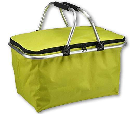 e-Best - Einkaufskorb - Korb mit gepolsterten Tragegriffen - Picknickkorb, Einkaufstasche, Picknicktasche, Klappbox, Klappkorb - faltbar - Grün