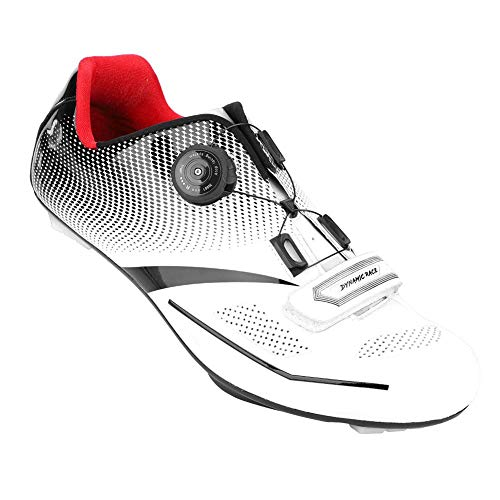 Alomejor 1 Paar Mode Radfahren Schuhe Anti-Skid SPD Lock System Radfahren Schuhe Atmungsaktiv Rennrad Schuhe Männer Erwachsene(41-Weiß)