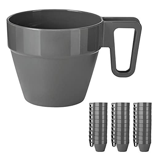Grizzly Mehrweg-Tassen Set, 30 Wiederverwendbare Kaffeebecher aus Kunststoff, stapelbar, spülmaschinenfest, bruchsichere Kunststoffbecher mit Henkel