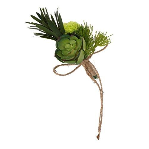 Fenteer Hochzeitsstrauß Bräutigam Smoking Brautkleid Seide Sukkulente Seidenblume Corsage - Grün 2