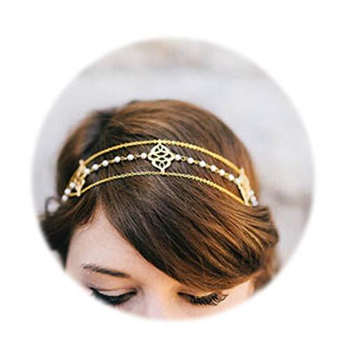 SonMo Stirn Kette Stirnband Stirnband Vergoldet Haarkette Stirnband Kopfschmuck Haarband Knoten Silber Kopf-Kette für Frauen